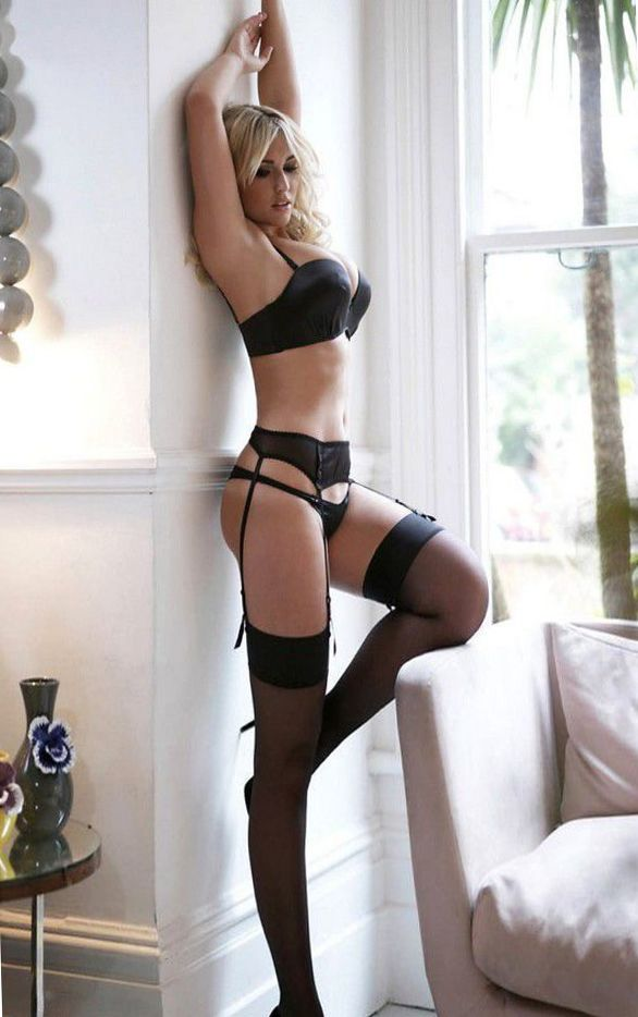 Sexy lingerie blonde with huge tits