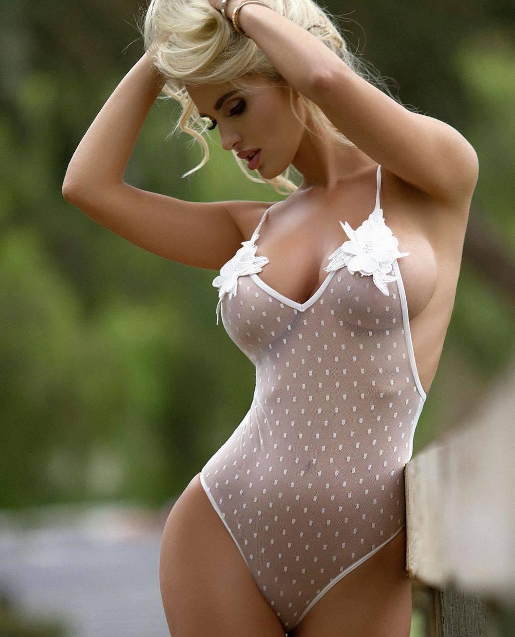 Sexy bodice curvy blonde