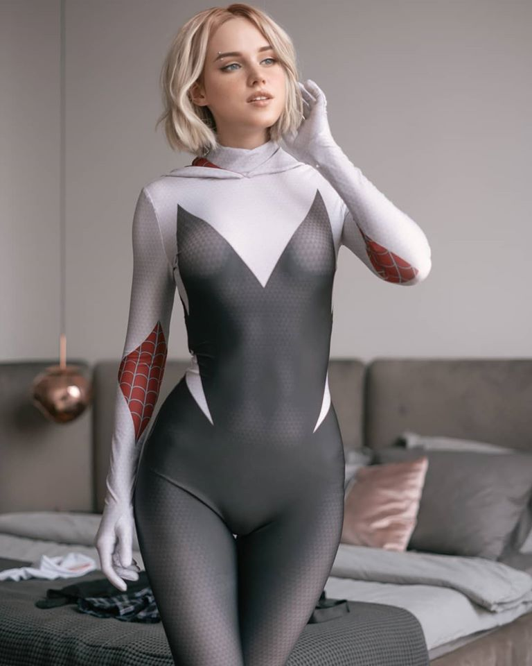 Red hot sexy babe in bodysuit