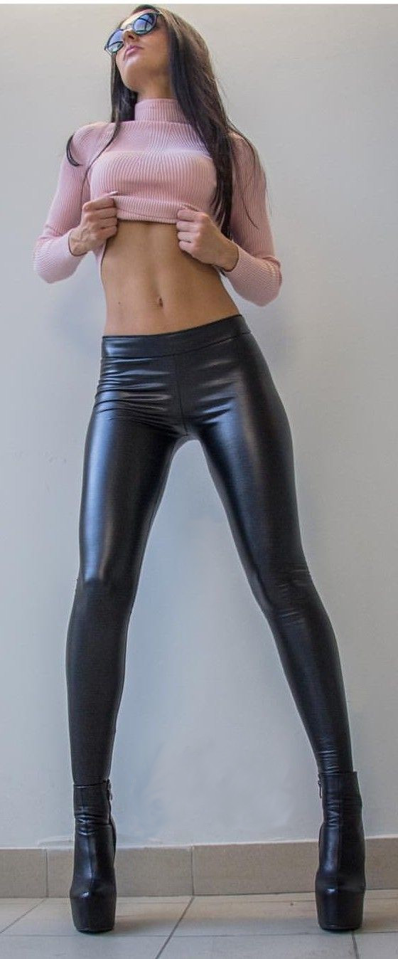 Shiny tight pants and boots