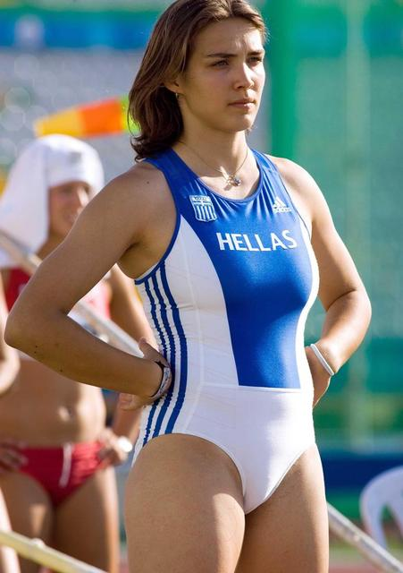 Fit sports babe in tight one piece