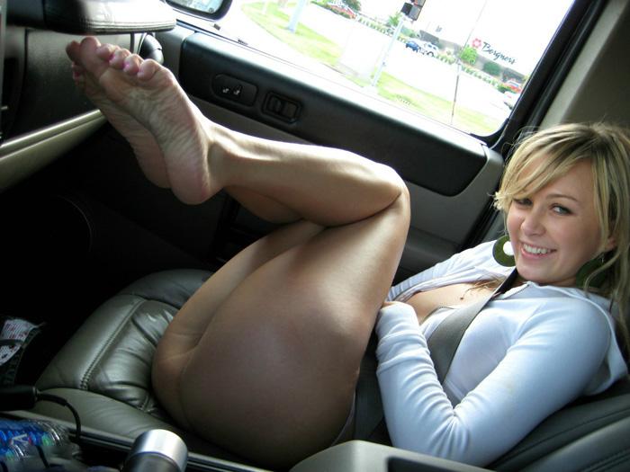 Cheeky babe teasing in my car