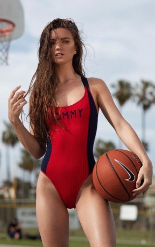 Red sporty swimsuit babe