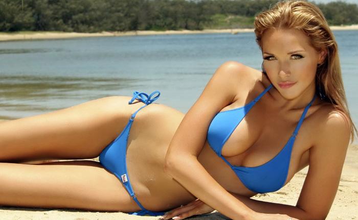 Blue bikini babe