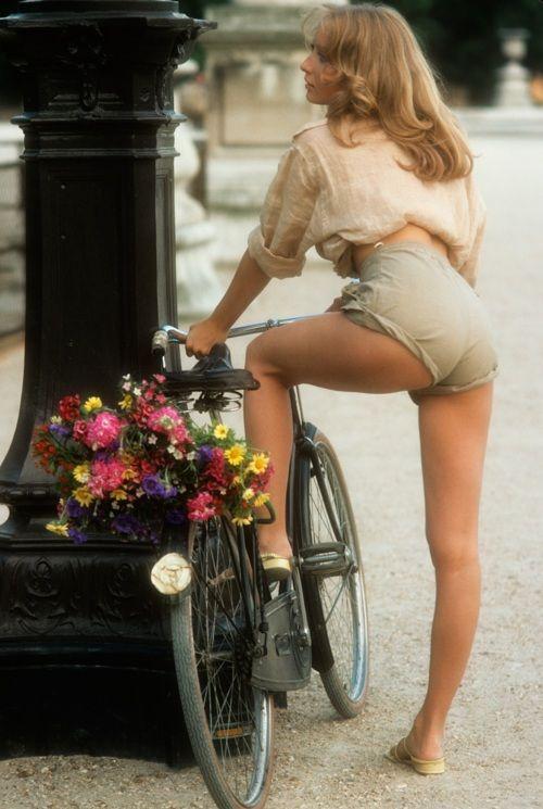 Sexy babe on a bike