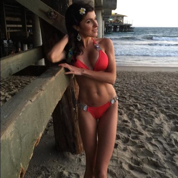 Brunette in red bikini