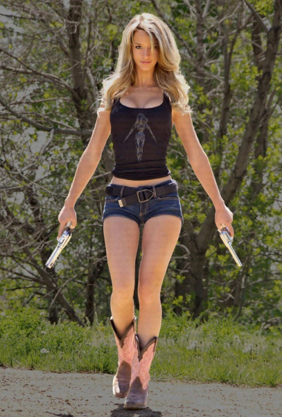 Guns, boots, gorgeous and hot shorts!