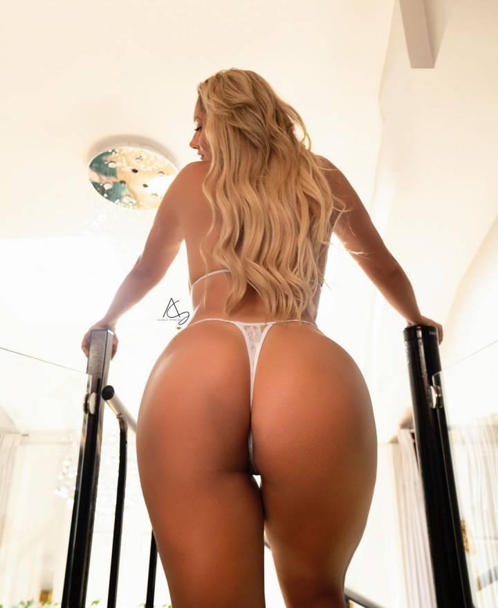 Upshot blonde in thong