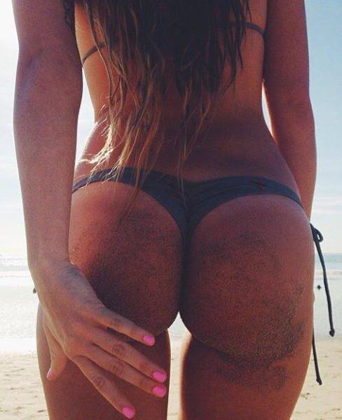 Sandy butt bikini babe