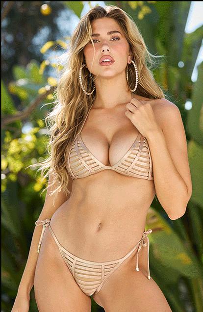 Golden bikini babe