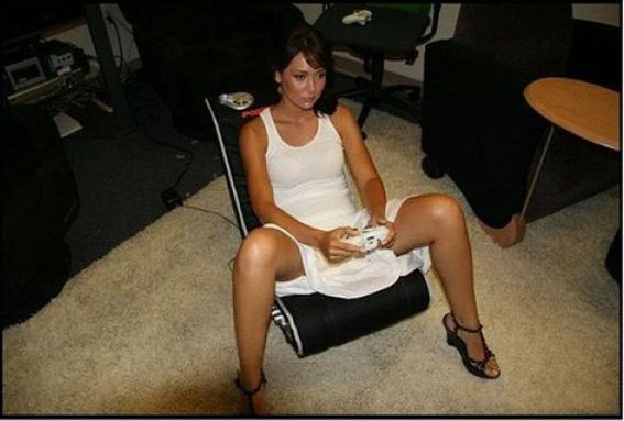 A real woman sits like this